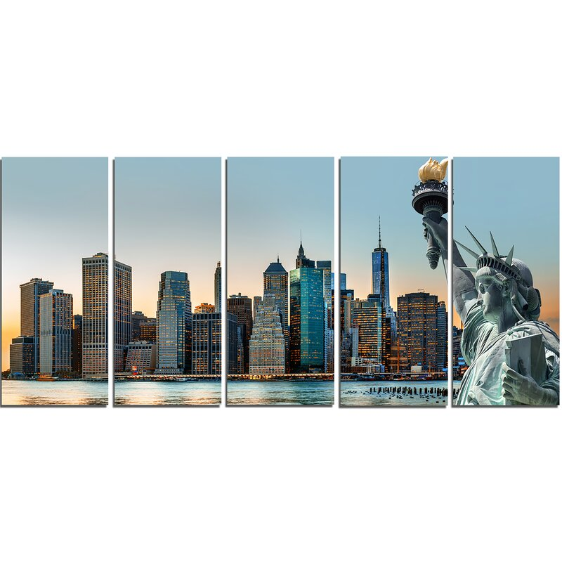 DesignArt New York City Skyline Panorama 5 Piece Wall Art on Wrapped ...