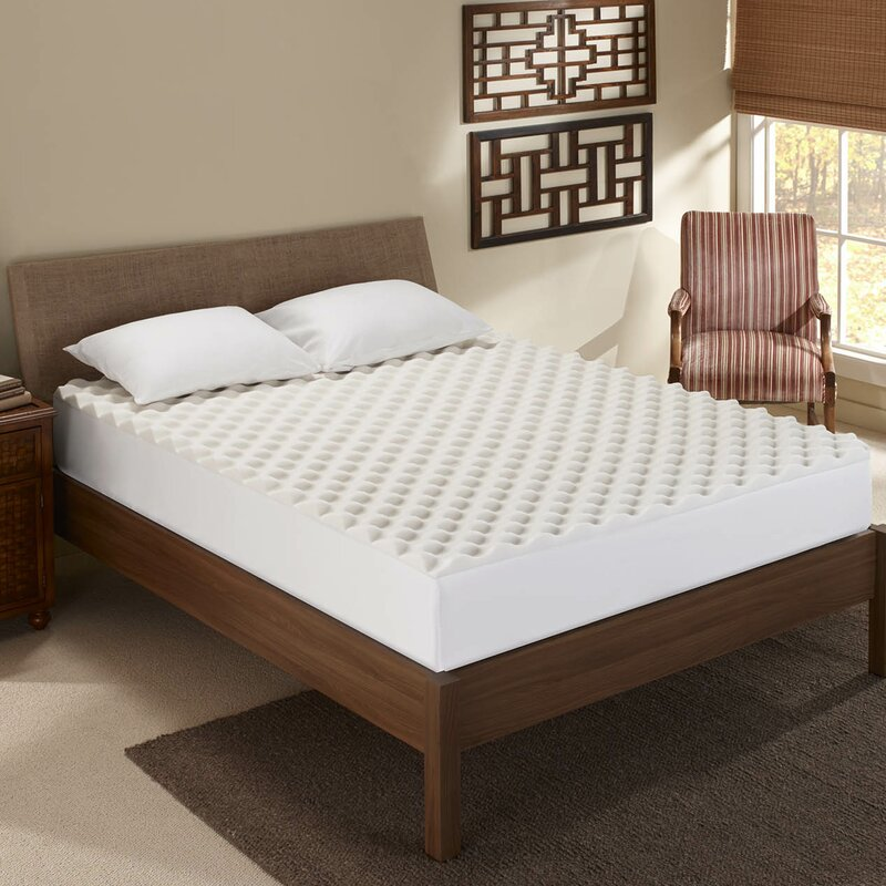 "Sleep Innovations Inc. Convoluted 1.5"" Memory Foam Mattress Topper"