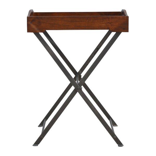 Bowie Cross Iron Base Tray Table by Fleur De Lis Living