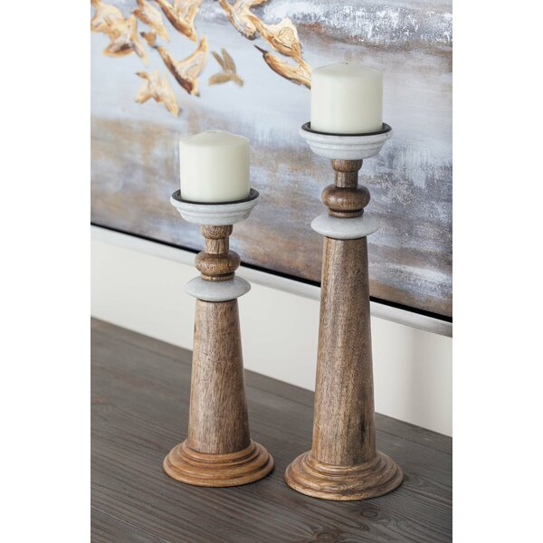 2 Piece Wood Candlestick Set By Cole & Grey by Cole & Grey Purchase