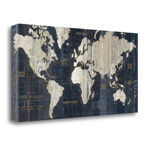 'Old World Map Blue' Graphic Art on Canvas by Tangletown Fine Art