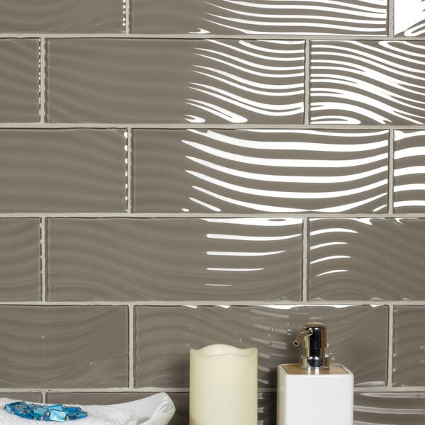 Pacific 4 x 11.75 Glass Wood Look/Field Tile in Rye by Abolos