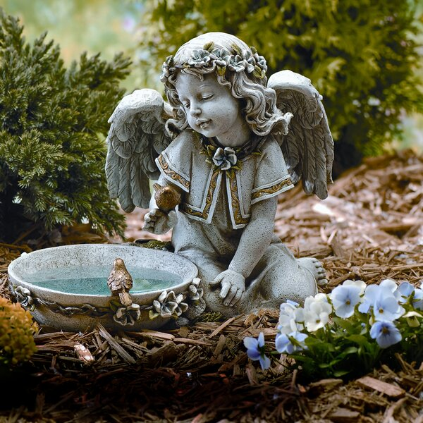 Angel Seated Solar and Lighted Birdbath by Roman, Inc.