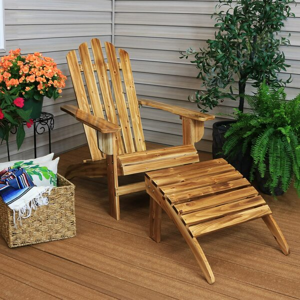 Eads Rustic Solid Wood Adirondack Chair with Ottoman by Millwood Pines Millwood Pines