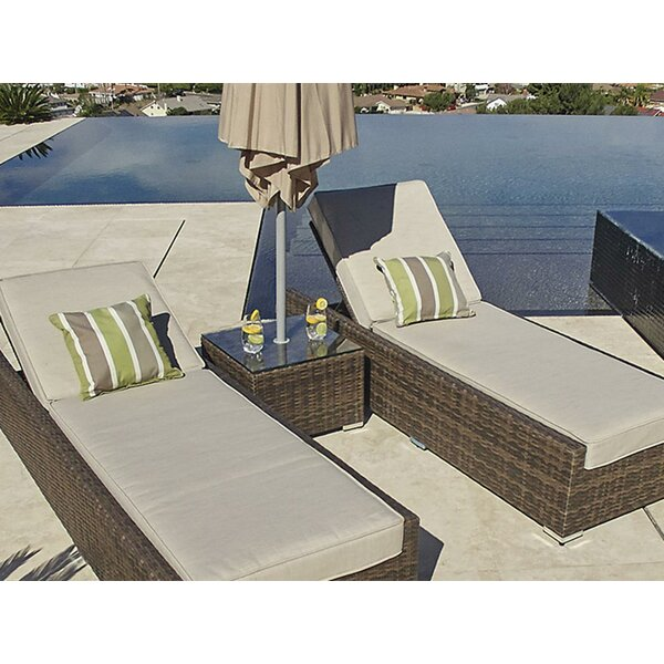 Ilkest 3 Piece Sun Lounge Set with Cushions and Table by Brayden Studio Brayden Studio