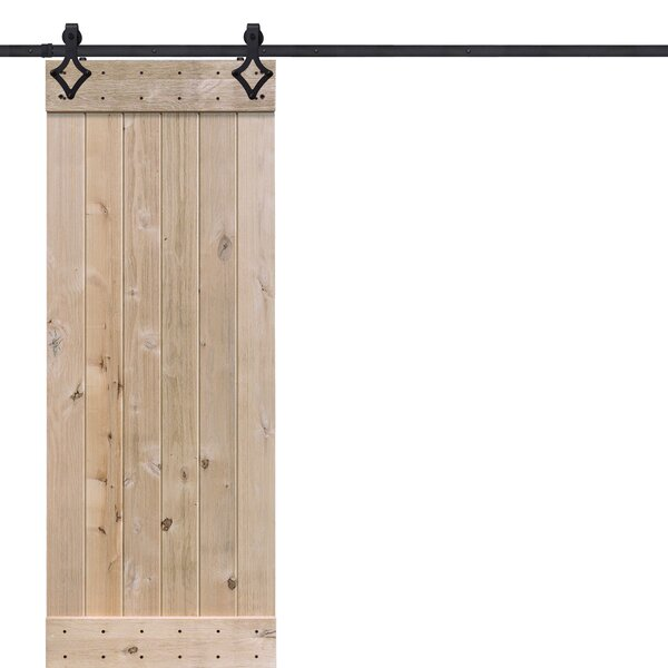 BarnWood Plank Wood 1 Panel Beige Interior Barn Door by Barndoorz