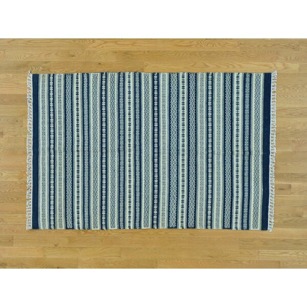 One-of-a-Kind Bessey Striped Handmade Kilim Blue Wool Area Rug by Isabelline