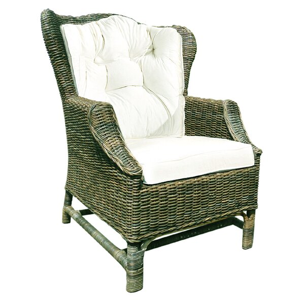 Rattan Wicker Wingback Chair Set with Cushions (Set of 2) by D-Art Collection
