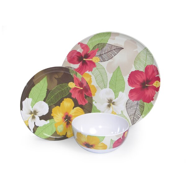 Melamine Hibiscus 3 Piece Place Setting, Service for 1 by Island Way