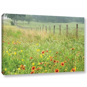 'Flowers and Fence' Photographic Print on Canvas by August Grove