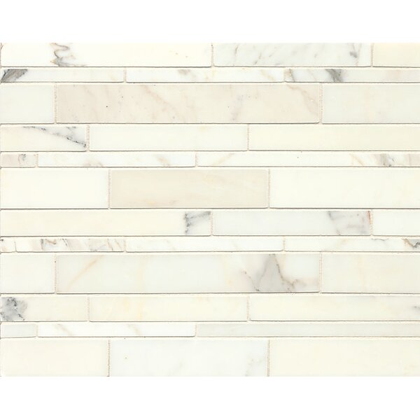 Random Linear Honed Marble Polished Mosaic Tile in Calacatta Oro by Grayson Martin