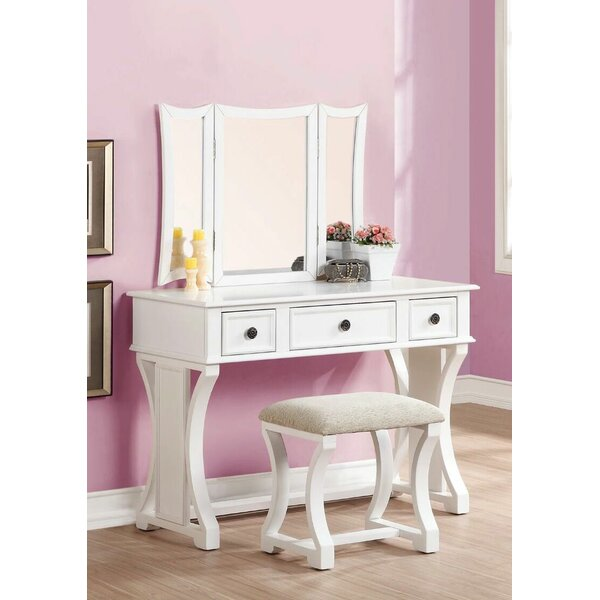 Adelynnline Vanity Set with Stool and Mirror by Winston Porter