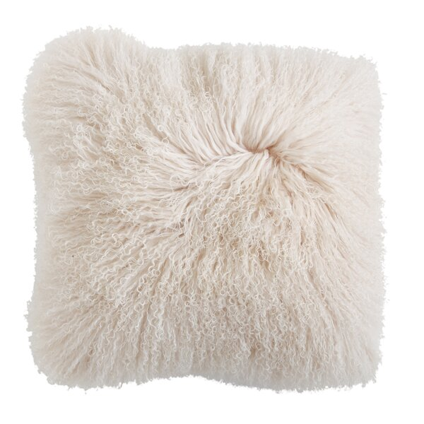 Ahern Mongolian Lamb Fur Throw Pillow by Brayden Studio