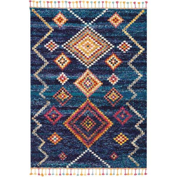 Wayne Moroccan Tribal Blue/Beige Area Rug by Bungalow Rose
