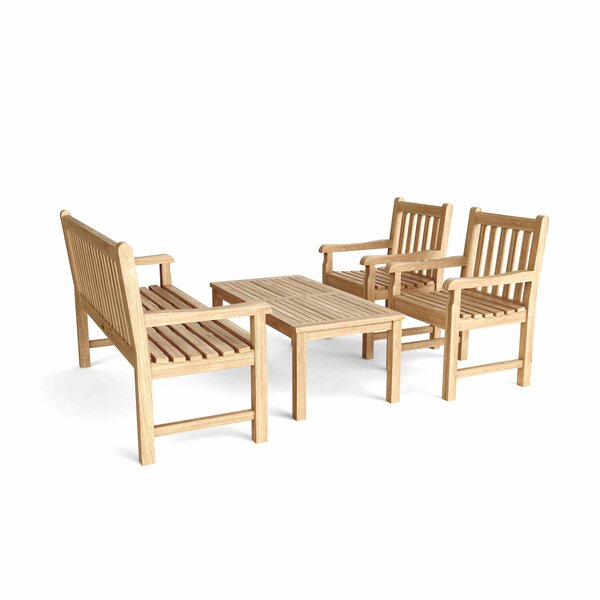 Bahama 3 Piece Sunbrella Teak Conversation Set by Beachcrest Home
