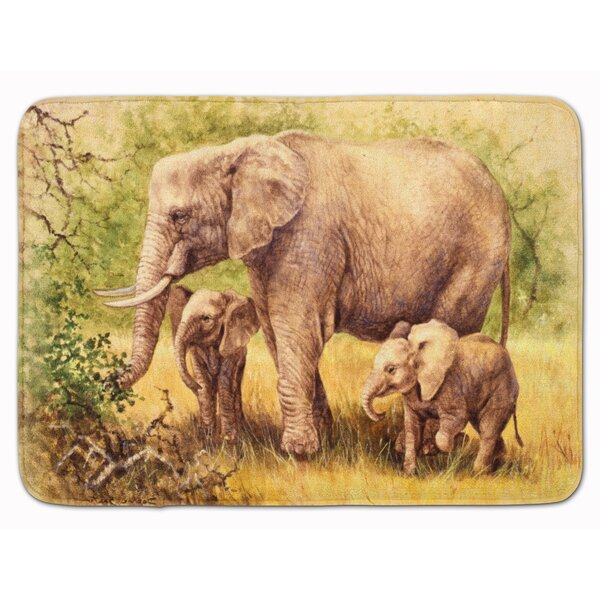 Elephant by Daphne Baxter Rectangle Microfiber Non-Slip Bath Rug