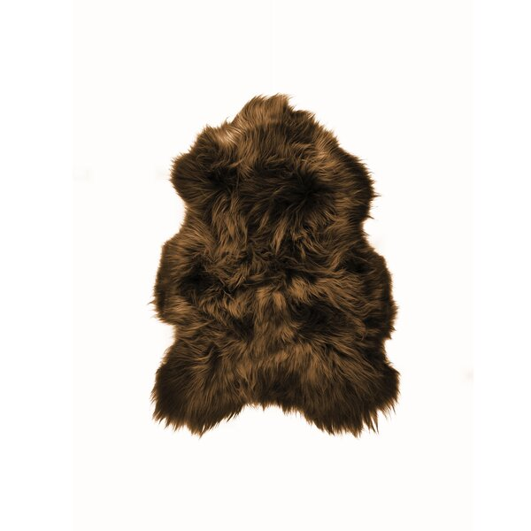 Archibald Long-Haired Hand-Woven Sheepskin Chestnut Area Rug by House of Hampton