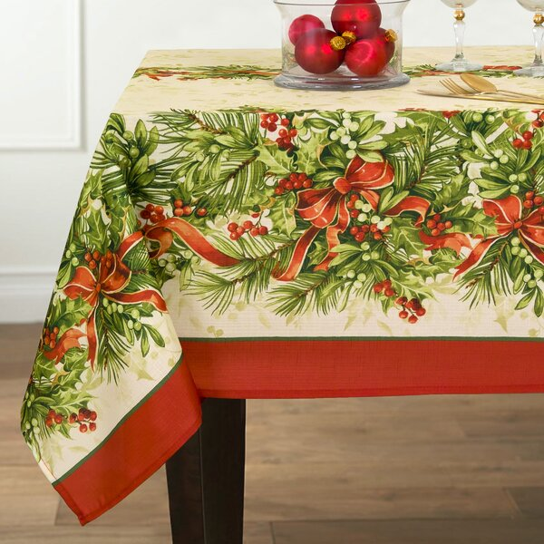 Holly Traditions Double Border Oblong Tablecloth b