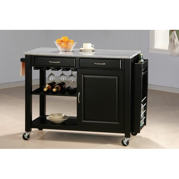 Pastore Portable Kitchen Cart Granite Top by Alcott Hill
