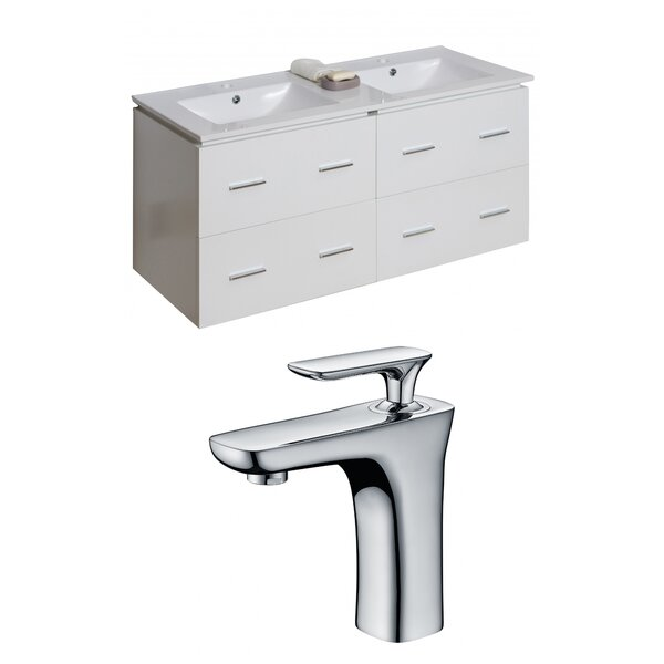 Kyra 48 Glaze Double Bathroom Vanity Set with 4 Drawers by Orren Ellis