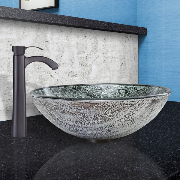 Titanium Glass Circular Vessel Bathroom Sink with Faucet by VIGO