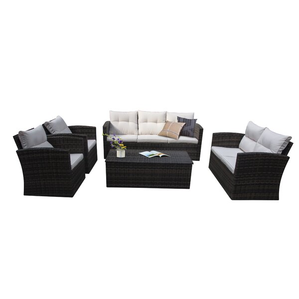 Arocho 5 Piece Rattan Sectional Seating Group with Cushions by Breakwater Bay