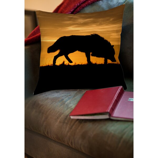 Wolf Silhouette Printed Throw Pillow by Manual Woodworkers & Weavers