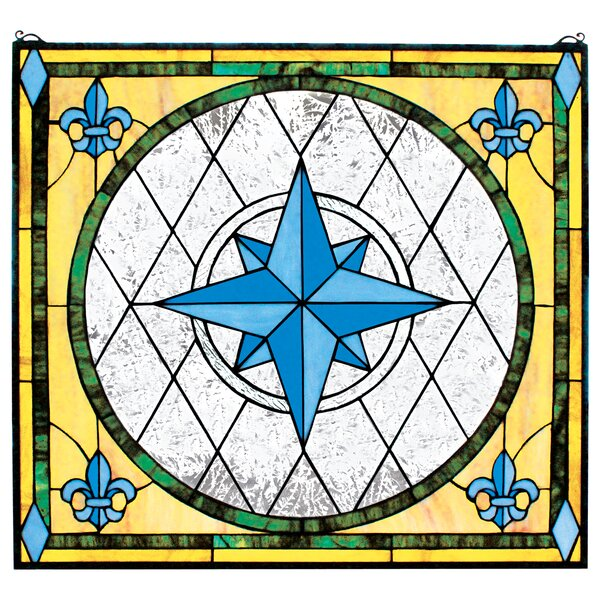 Compass Rose Stained Glass Window by Design Toscano