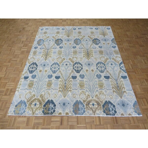 One-of-a-Kind Pellegrino Ikat Peshawar Hand-Knotted Wool Sky Blue Area Rug by Bloomsbury Market