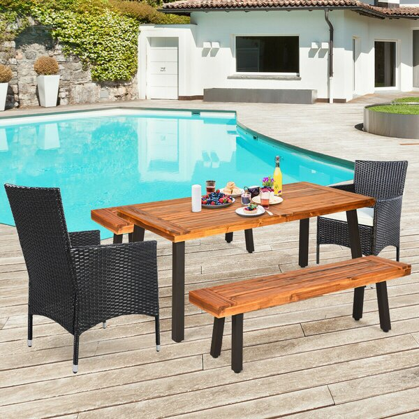 Topeka 5 Piece Dining Set with Cushions by Foundry Select
