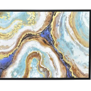 'Blue and Gold Agate Inspired Abstract' Framed Painting Print by Three Hands Co.