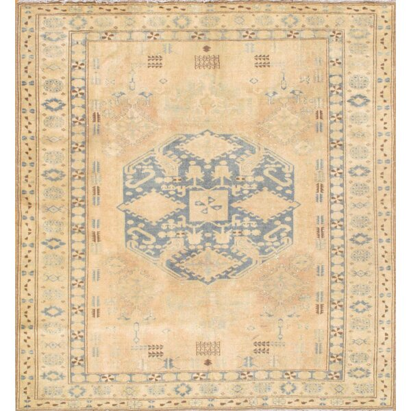 Kazak Hand Knotted Wool Beige/Blue Area Rug by Pasargad NY