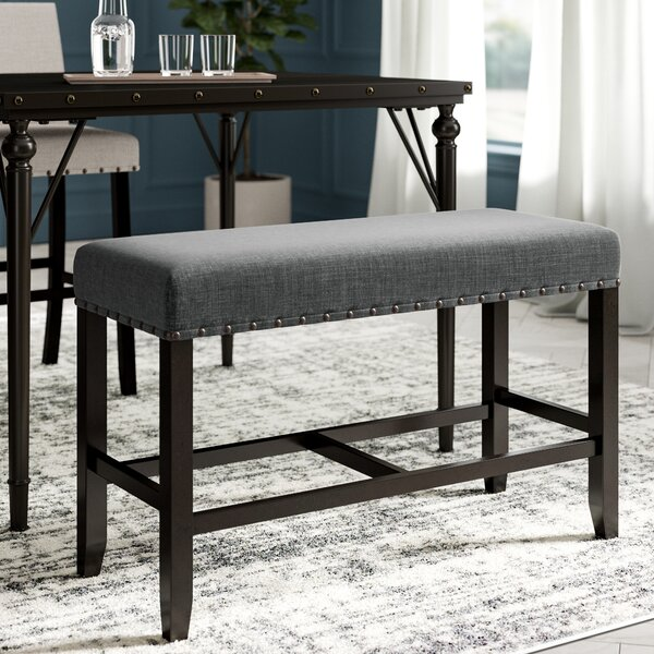 Haysi Counter Height Upholstered Bench with Nailhead Trim by Greyleigh