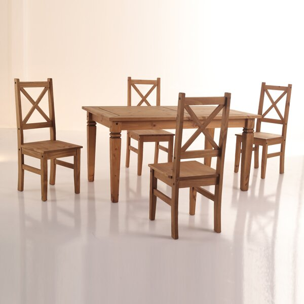 Kassidy 5 Piece Solid Wood Dining Set by Loon Peak Loon Peak