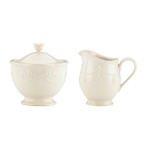 French Perle Sugar and Creamer Set by Lenox