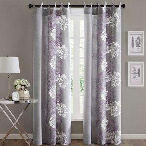 Levi Nature/Floral Semi-Sheer Grommet Single Curtain Panel