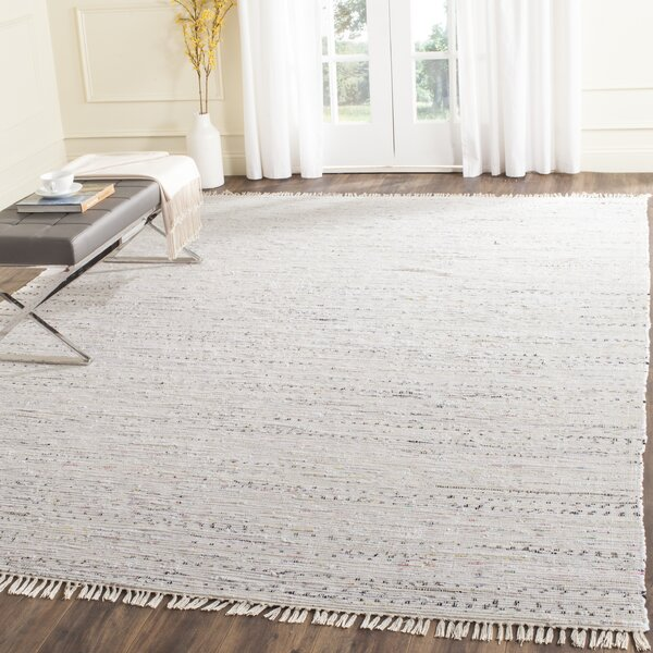 Penrock Way Flatweave Cotton White Area Rug by Beachcrest Home