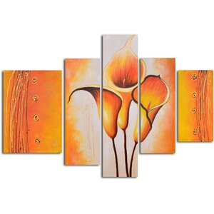 Cobra Lily Dance 5 Piece Painting on Wrapped Canvas Set by My Art Outlet