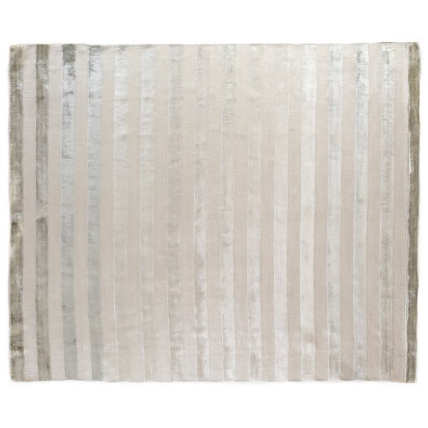 Tunnel Hand-Knotted Silk Silver/Beige Area Rug by Exquisite Rugs