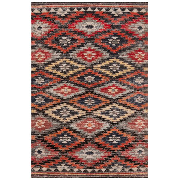Griffeth Rust/Black Indoor/Outdoor Area Rug by Bungalow Rose