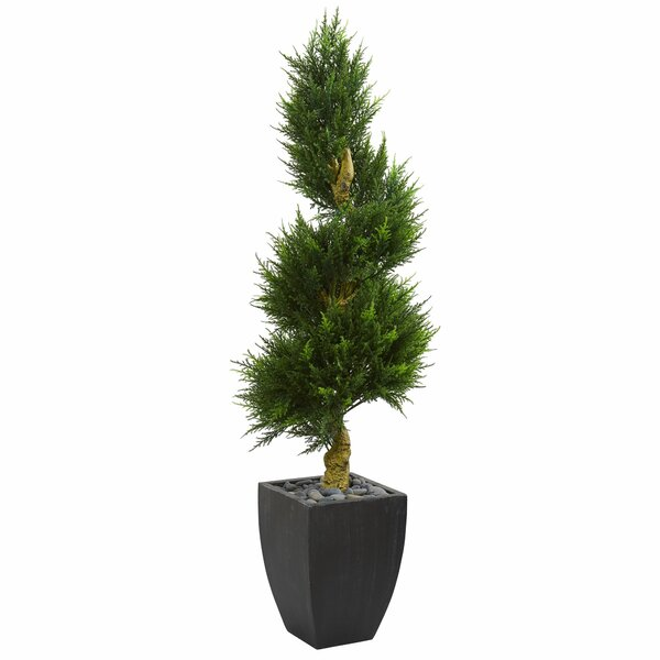 Spiral Artificial Floor Cypress Tree in Planter by Bloomsbury Market