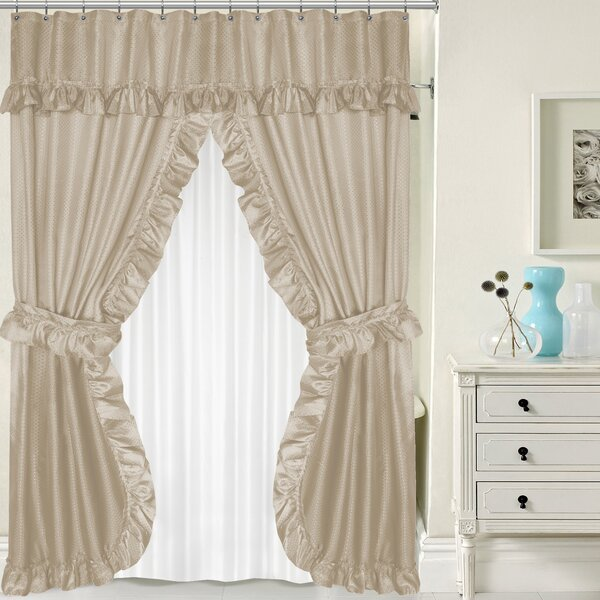 Sweet Home Collection Double Swag Shower Curtain Set & Reviews   Wayfair - Sweet Home Collection Double Swag Shower Curtain Set & Reviews