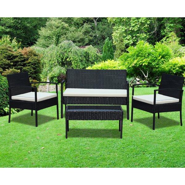IDSOnlineCorp Rattan Wicker Patio 4 Piece Lounge Seating Group With Cushion  U0026 Reviews   Wayfair