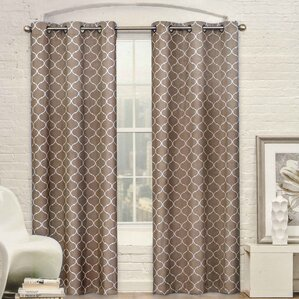 Mortimer Geometric Semi Sheer Grommet Curtain Panels (Set Of 2)