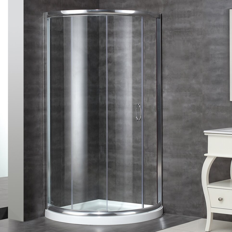 neoangle door round shower enclosure with shower base