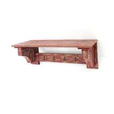 Wood Wall Shelf with 4 Hooks (Set of 2) by Teton Home