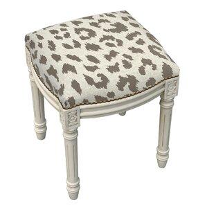 animal print cheetah linen upholstered vanity stool