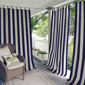 Briarton Highland Stripe Semi Sheer Outdoor Tab Top Single Curtain Panel