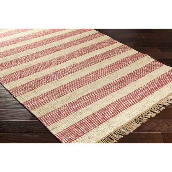 Boughner Hand-Woven Red/Neutral Area Rug by Three Posts
