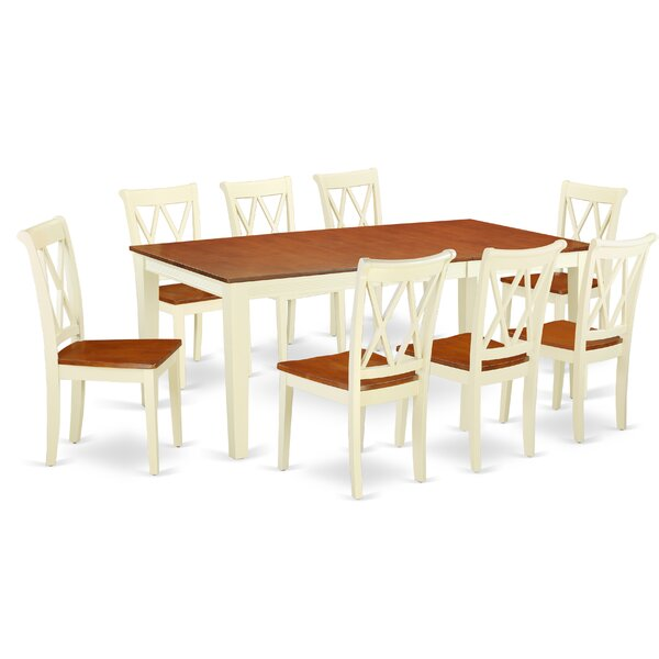Roselawn 9 Piece Extendable Solid Wood Dining Set by Winston Porter Winston Porter